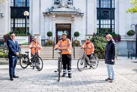 Cllr Champion, John Mooteealoo and three Street Environment Services supervisors pose with the bikes: From left: John Mooteealoo (Islington Council's Head of Street Environment Services), supervisors Andrew Danezi, Dean Herbert and Mustafa Gazovali, and Cllr Rowena Champion.