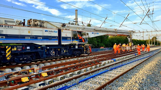 Passengers reminded to check before they travel over the August bank holiday weekend: Track being position during Acton Grange upgrade