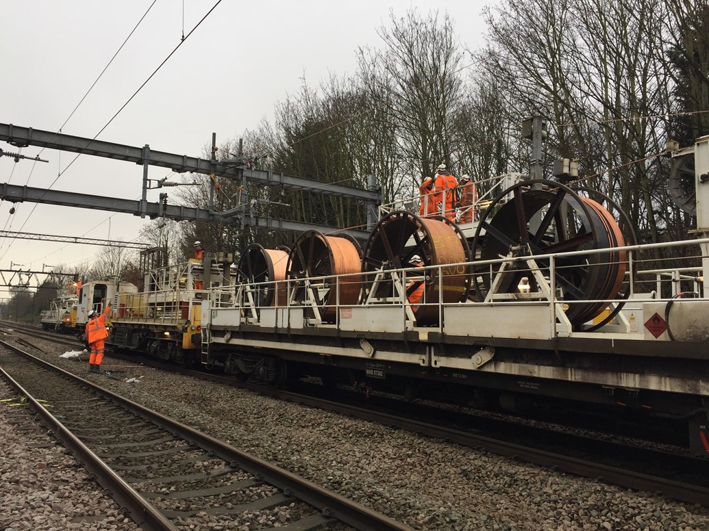 Anglia Christmas railway upgrades completed: Wiring train on the Great Eastern Mainline Anglia