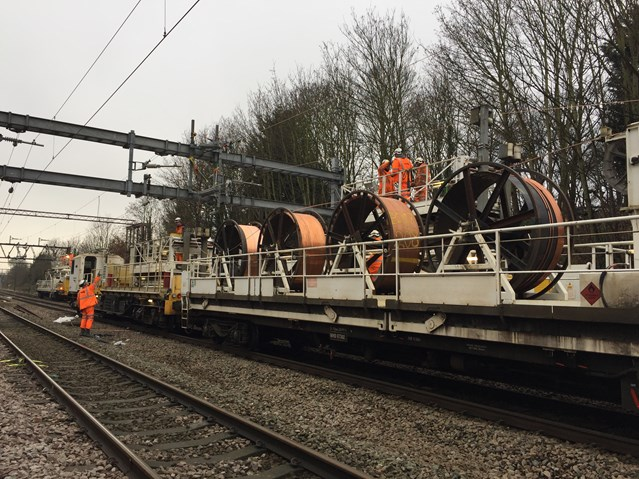 Anglia Christmas railway upgrades completed: Gidea Park wiring train at Christmas
