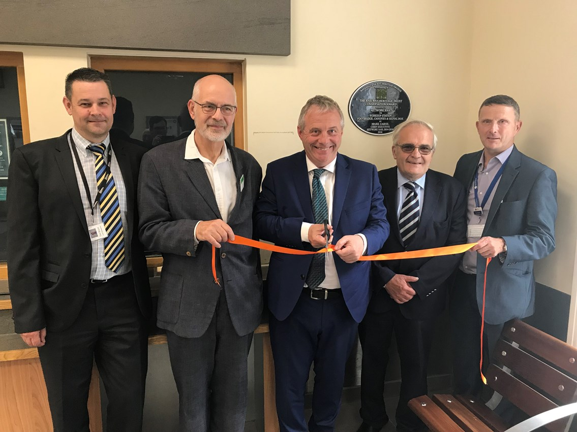L2R Tim Brunt, Senior Asset Engineer, Network Rail Andy Savage, Exec Director, Railway Heritage Trust John Mann, MP for Bassetlaw Theo Steel, Trustee and Chairman Designate, NRHA Dean Howard, Station Manager, Northern