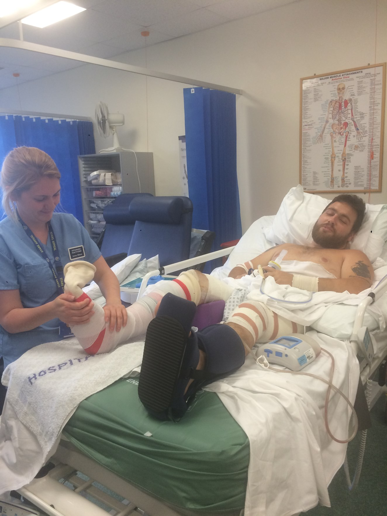 """""""My leg was stuck to the rail and I couldn't get off"""": Hampshire man appeals for the public to keep a clear head near the railway this Christmas: Chris Dos Santos in hospital, following his life-threatening accident on the railway"""