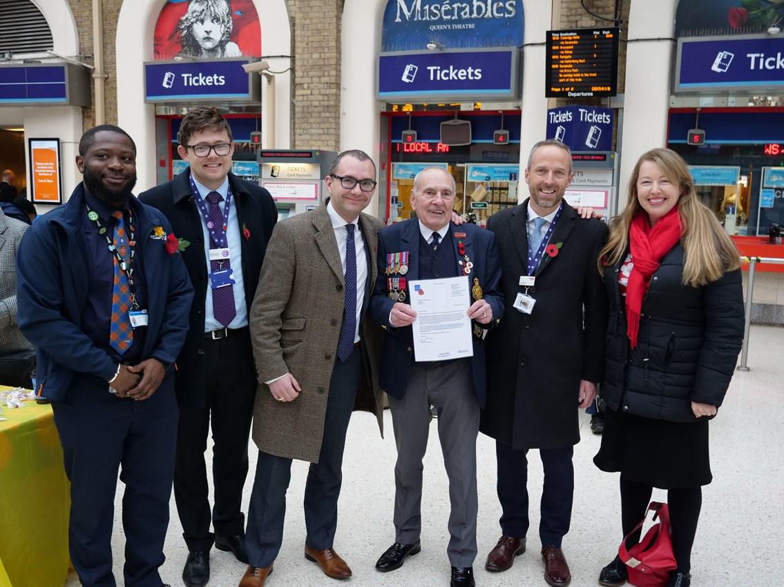 Charing Cross station team celebrates poppy seller Brian Coombs' 30th year supporting Royal British Legion: P1022826
