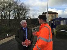 Network Rail staff talking to passengers in Lancashire 16 Jan 2017