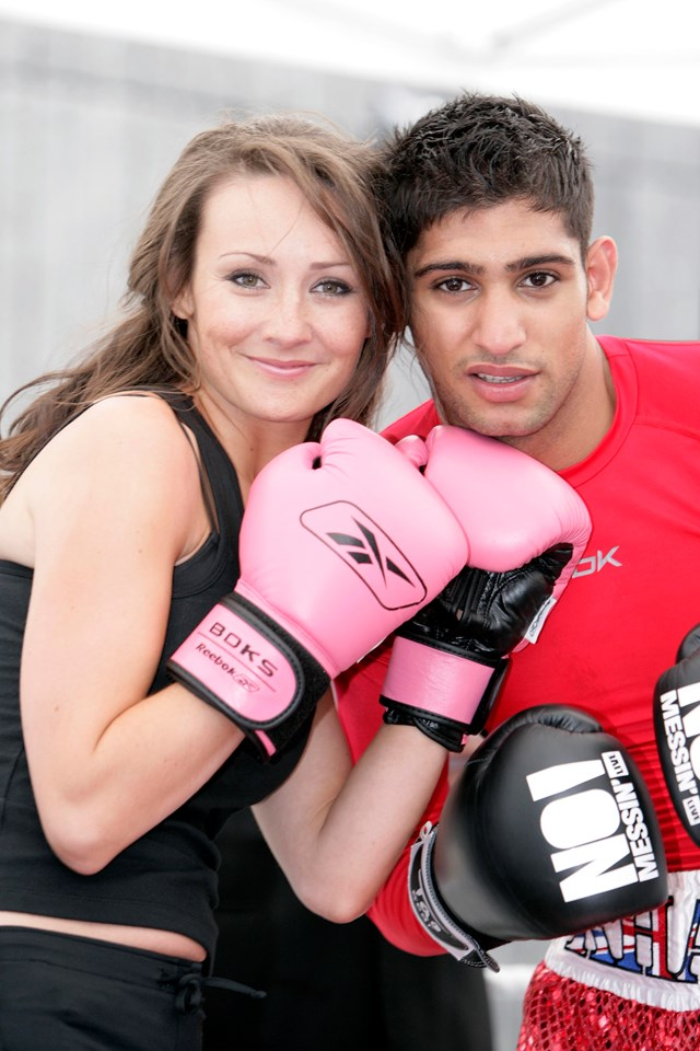 Amir Khan and Claire Cooper: Amir Khan and Hollyoaks star Claire Cooper at the National launch of No Messin'! 2007