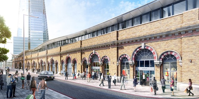 SUSSEX: One month to go until passengers will see what lies beneath at London Bridge station as the Thameslink Programme prepares to open first section of new concourse.: NEW - St Thomas St facade CGI, London Bridge