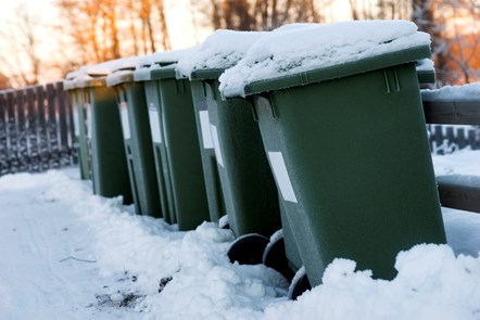 snow covered bins