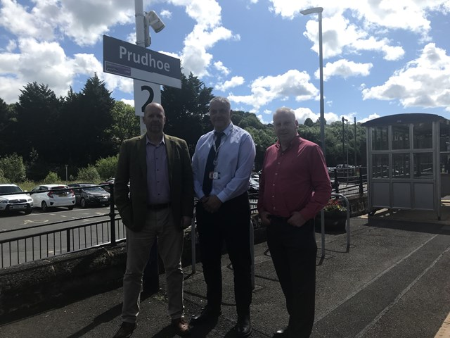 County Councillor visits newly improved Northumberland station: L2R Mick Hodgson, Operations Manager at Network Rail, Graham Lamb, Local Operations Manager at Network Rail and Cllr Gordon Stewart, Chairman of Tynedale Local Area Council
