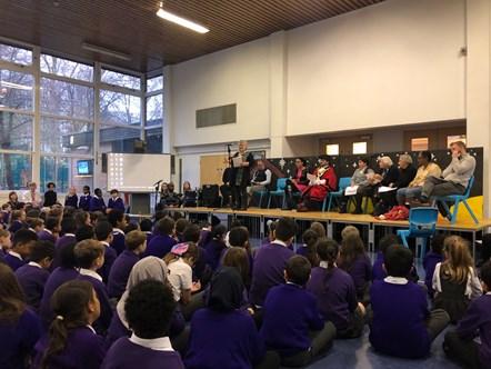 Cllr Sue Lukes addresses Hugh Myddelton school: Islington Council's Migrant Champion, Cllr Sue Lukes, addresses children at Hugh Myddelton Primary School