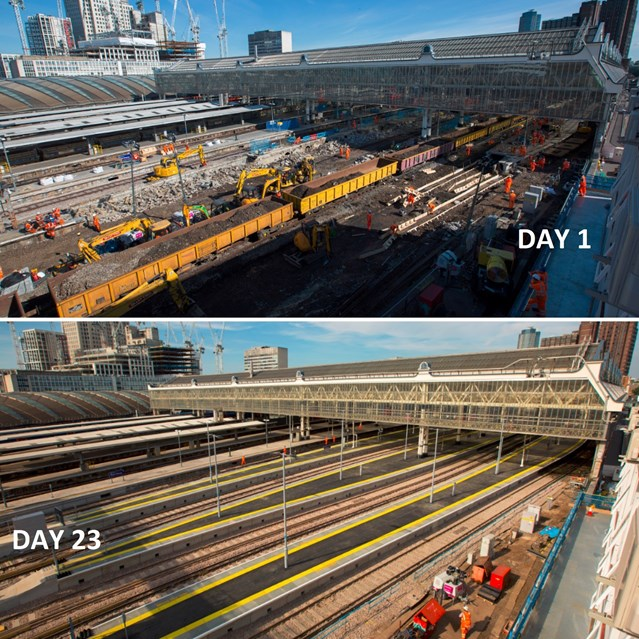 TIMELAPSE: Network Rail thanks passengers as it completes Waterloo Upgrade: London Waterloo - Day 1 v Day 23