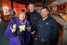 Loch Garten Reserve - L-R  Fiona Hyslop; Ross Johnston, Deputy Director of Sustainable Growth, SNH; Uwe Stoneman, Senior Site Manager Abernethy National Nature Reserve, RSPB Scotland