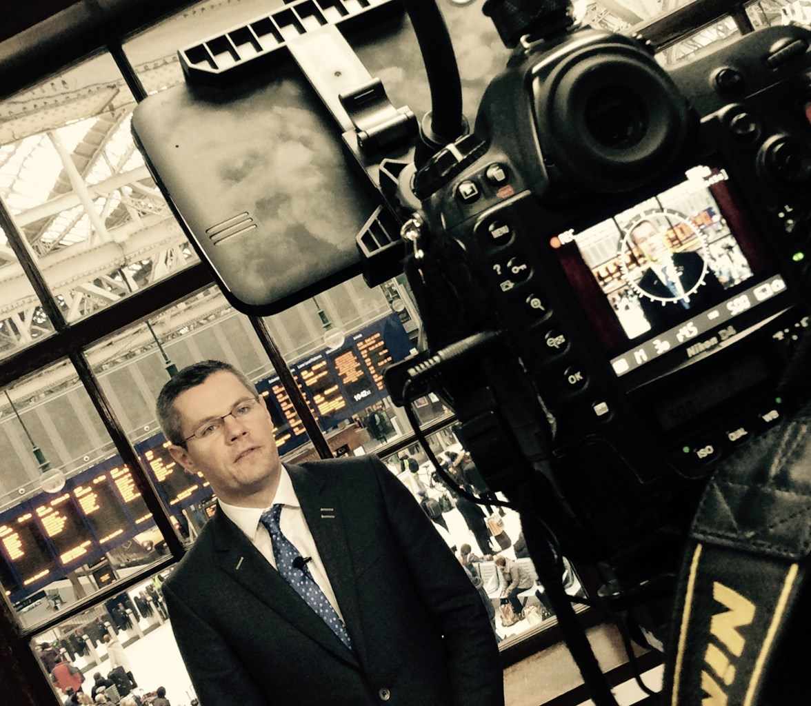 Derek Mackay - recording a Transport 2014 review at Glasgow Central Station (2)