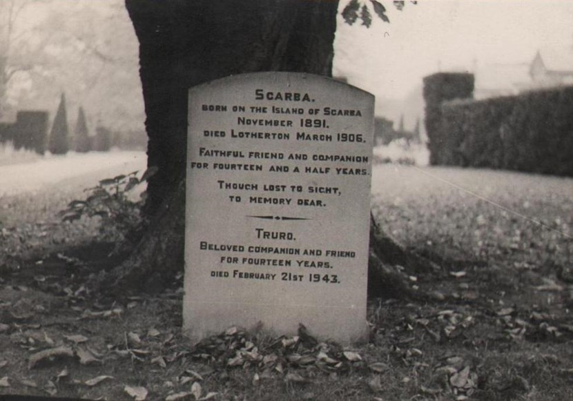 Object of the week- Lotherton pet cemetery: p8.10closeupofscarbaandtruro039sgravestonepost1943.jpg