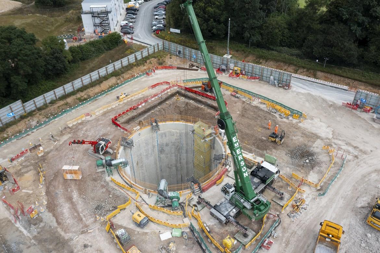 Excavation begins for HS2's first 'barn design' tunnel vent shaft: Chalfont St Peter vent shaft excavation July 2021 5