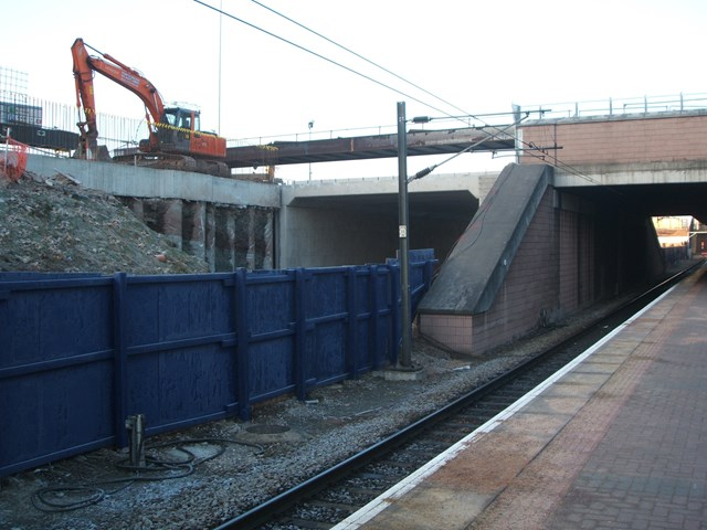 Manchester Airport bridge slide: The new bridge in position, the morning after it was rolled into place