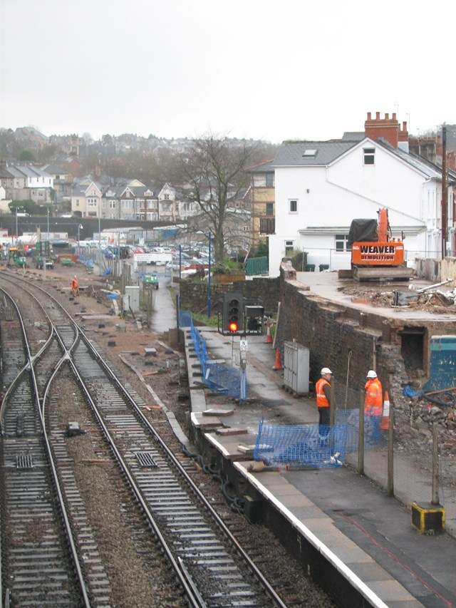 Platform 4: Works are underway on Platform 4
