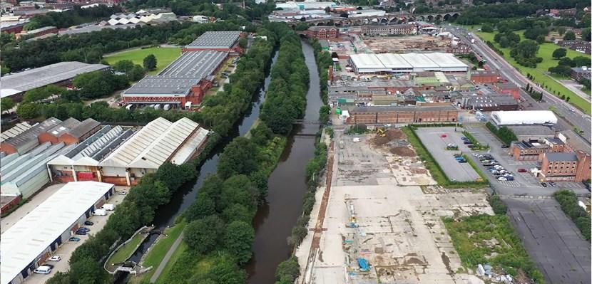 Leader of Leeds City Council welcomes further funding for Leeds Flood Alleviation Scheme: Flood scheme Kirkstall Road aerial