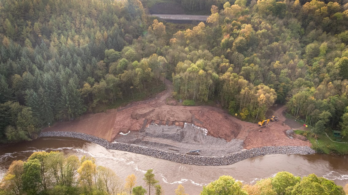 Aerial view of Eden Brows. settle line running above the River Eden.-6