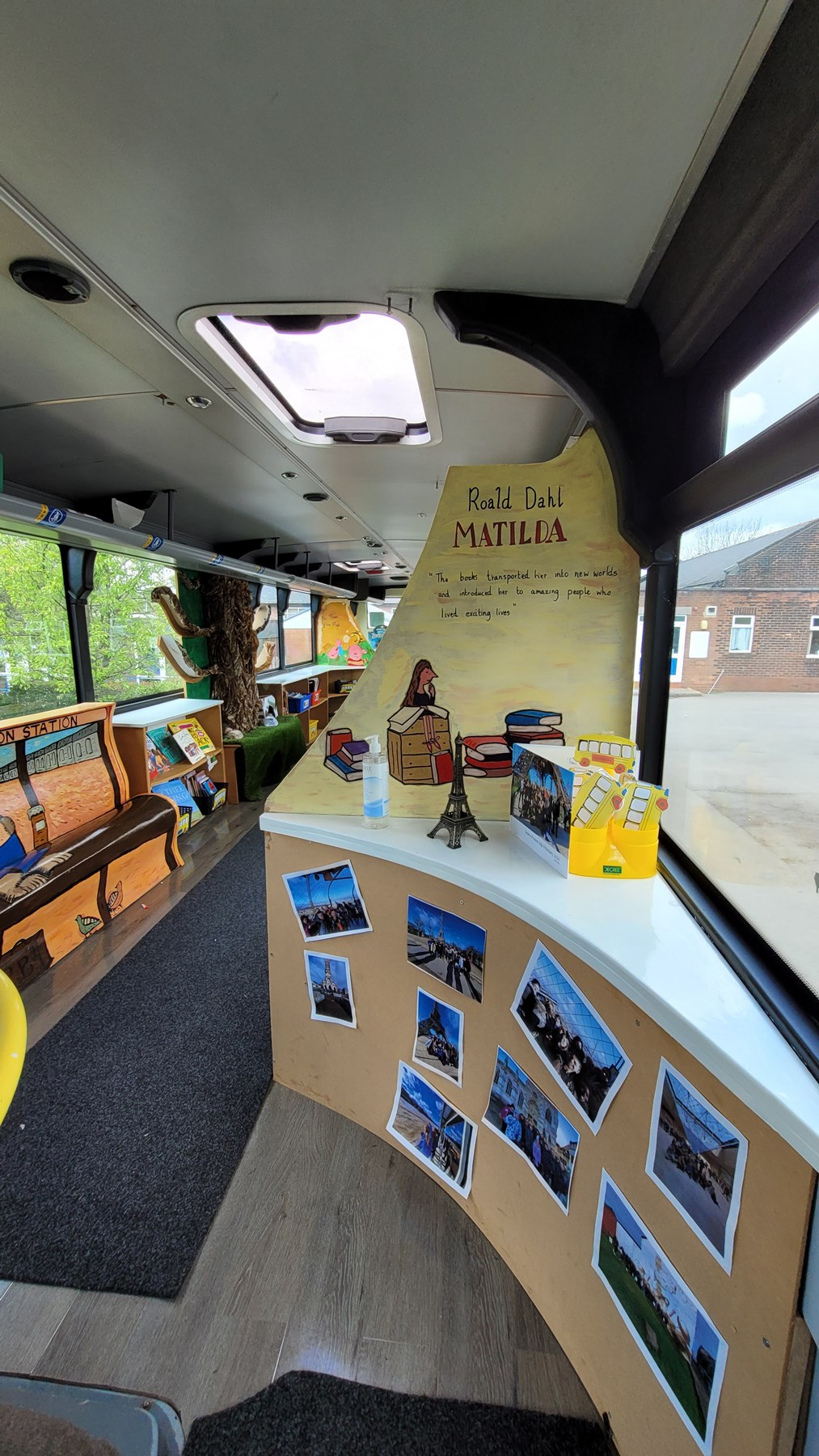 St Stephen's yellow school bus 6: A decommissioned yellow school bus, donated by TfGM to St Stephen's Primary School in Droylseden in 2019. The school turned the bus into a reading and tutoring place.