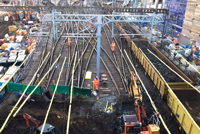 Network Rail reaches major milestone on £1.2billion East Coast Upgrade as all four tracks into King's Cross are lifted for the first time in decades to allow sewer reconstruction: Network Rail reaches major milestone on £1.2billion East Coast Upgrade as all four tracks into King's Cross are lifted for the first time in decades to allow sewer reconstruction