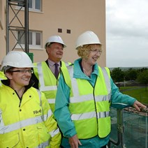 Housing Minister Margaret Burgess with Councillor Judy Hamilton and Ian Dawson