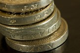 Economy-pound-coins-money-finance-budget: iStock - File #12141123 - 'Stack of pound coins' - 21-11-2009
