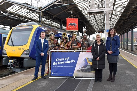 Chester 1: David Brown (Northern MD) is joined by Cllr Karen Shore (Deputy Leader of Cheshire West and Chester Council) and Mary Hewitt (Arriva's Strategy and Policy Director)  - as well as four Roman soldiers - at the launch of new trains for Chester.