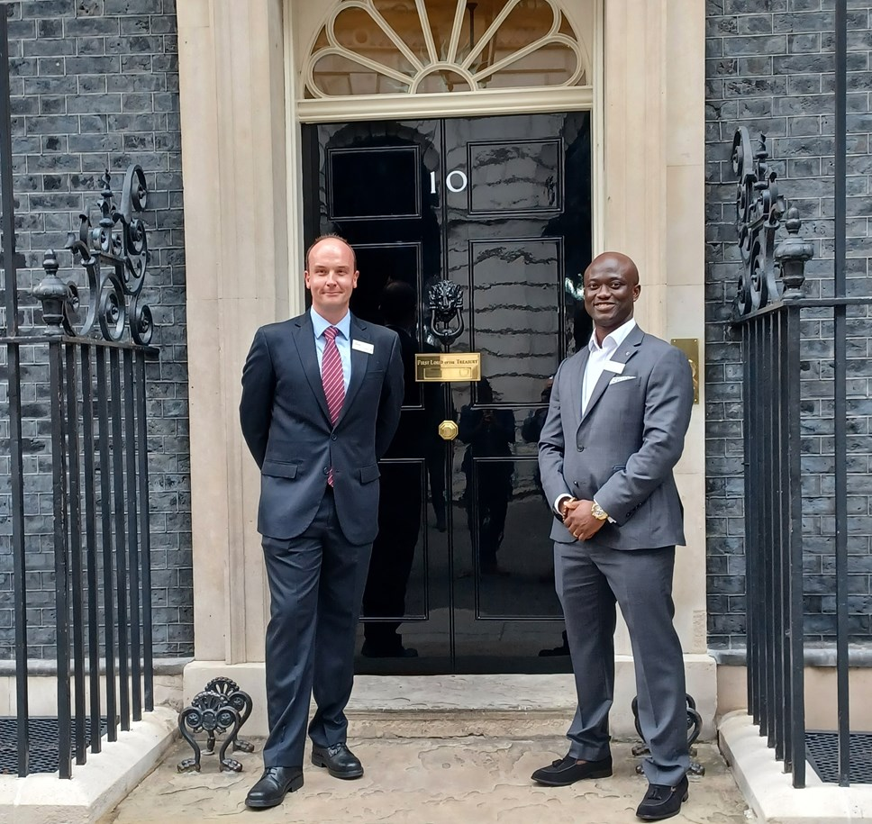 Lyle Mitchell (L) and Samuel Obiri-Yeboah (R)  at Number 10