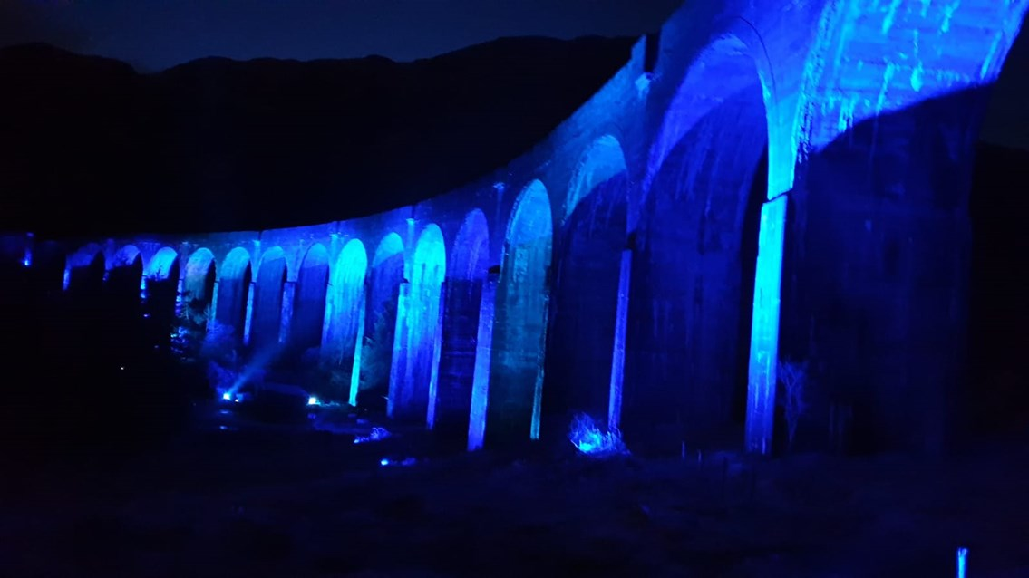 2 April Glenfinnan Viaduct: Lit up blue in support of NHS and key workers