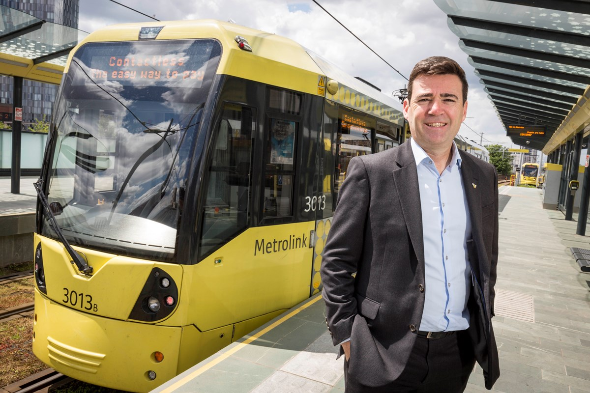 Andy Burnham at the launch of contactless payments: The location is Deansgate-Castlefield Metrolink stop