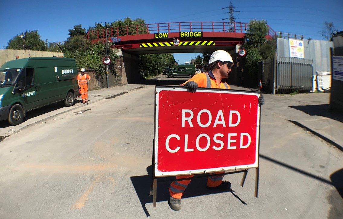 Landor Street reopens as newly installed beam protects railway bridge from careless drivers: Landor Street reopens Friday 5 July 2019