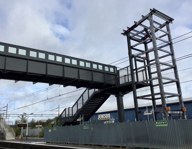Close up of the lift shaft structural steel now in place at Stechford station