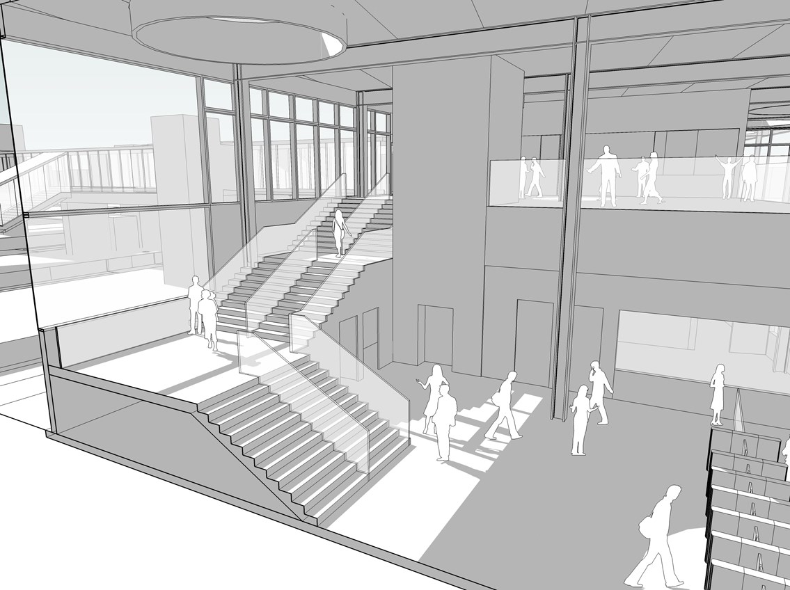 Bedford's new station (internal): Network Rail's plans for a new station building at Bedford include natural lighting and ventilation, cutting down on carbon usage.