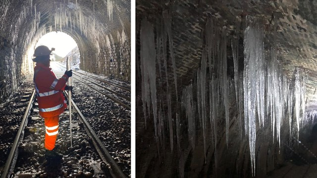 Winter is staying : travel warning as icicles cleared from railway tunnels: Icicles in Blea Moor tunnel composite