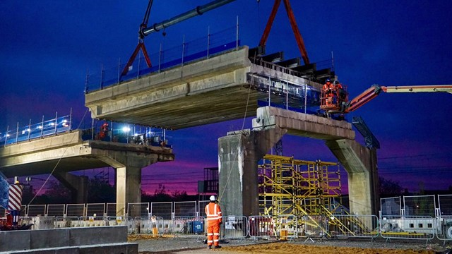 West Coast main line upgrades progressing with more work this Bank Holiday weekend: Bletchley flyover span lift May 2020 (1)