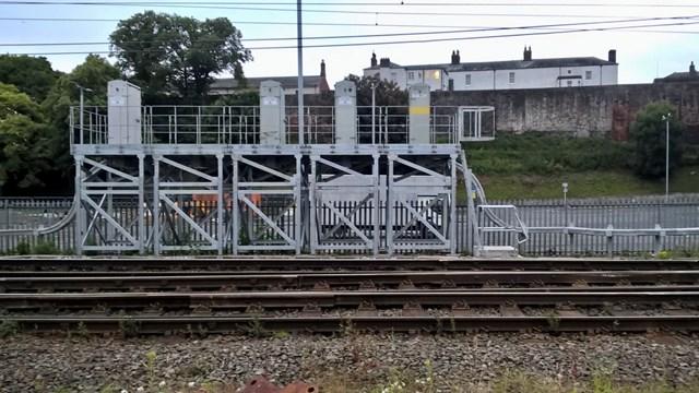 Signalling cabinets on stilts at Caldew junction-3