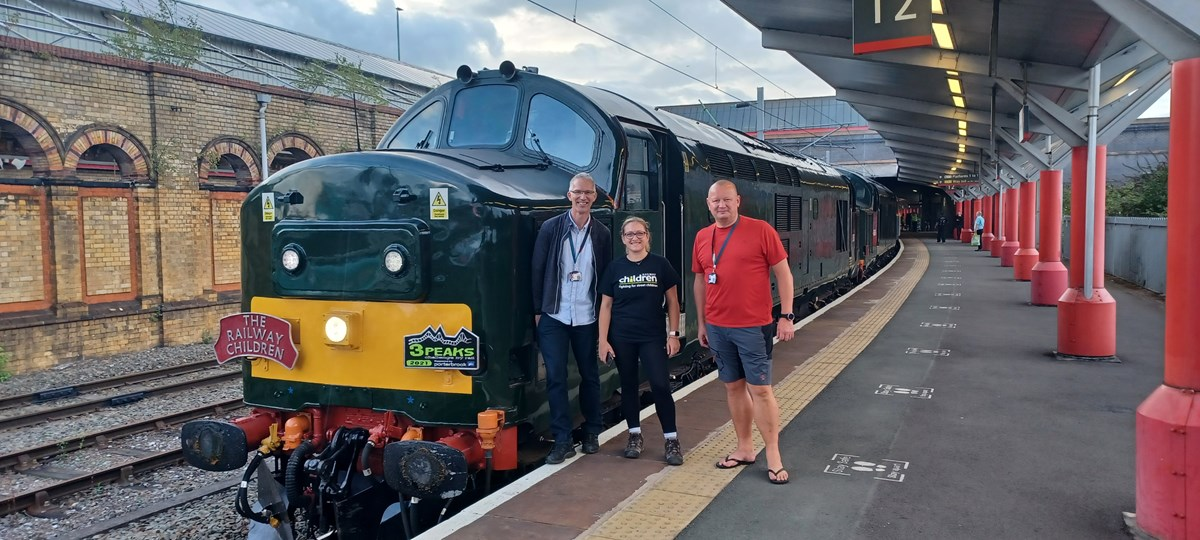 Three Peaks Challenge: L-R: Martin Ward, Lucy Pritchard and Phil Whittingham at Crewe Station about to embark on the Three Peaks Challenge by Rail.