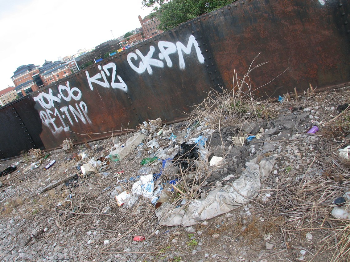 Litter and graffiti line side - Bristol Temple Meads: Bristol Temple Meads - one mile clean up either side of the station, 31 July 2006