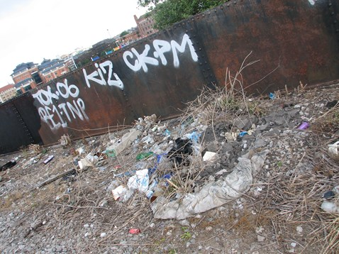 Litter and graffiti line side - Bristol Temple Meads