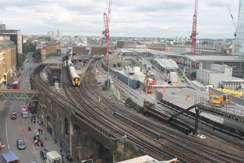 Ballast is laid on the approach to the new Borough Market viaduct