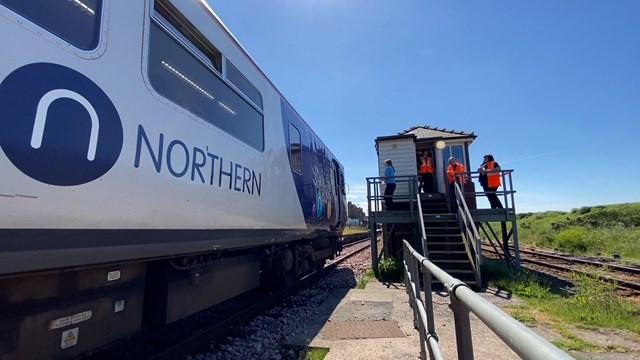 Northern train waiting at Sellafield signal box