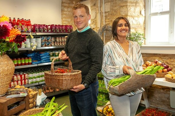 Chippy Larder Founder Rizvana Poole and John Busby, GLL Partnership Manager West Oxfordshire and Chippy Larder Trustee