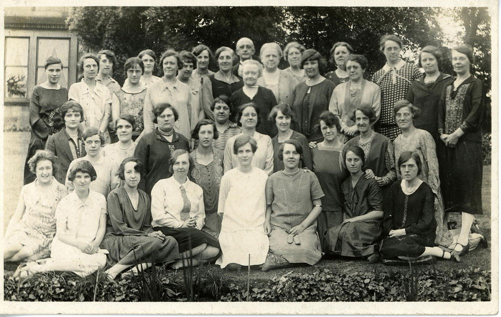Sounds of Our City: Photograph of Bramley Ladies Choir, 1920s and concert in Zion Baptist School, Bramley, 1935.