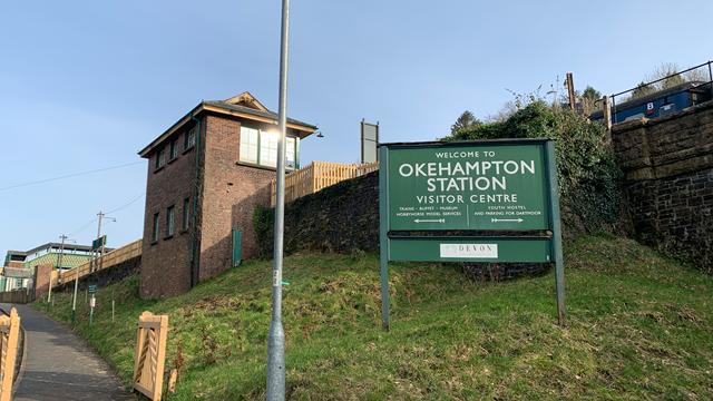 Okehampton station sign