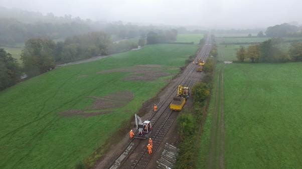 Abergavenny to Hereford line to reopen ahead of schedule (updated): Day 6 Thursday - Drone Image 3 Abergavenny to Hereford