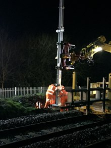 Stanchions being put up for electrification of Preston-Manchester line
