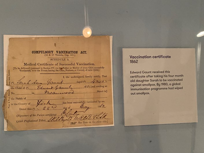 Leeds City Museum 200: A smallpox vaccination certificate from 1862.