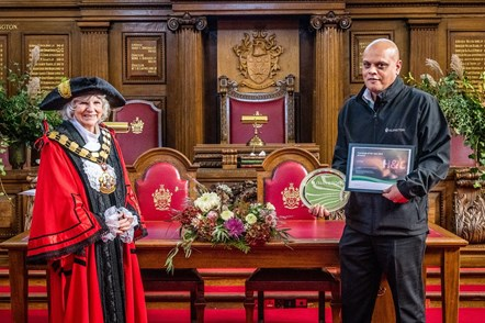 Mayor Cllr Burgess with Lat Singh, Concierge of the Year winner