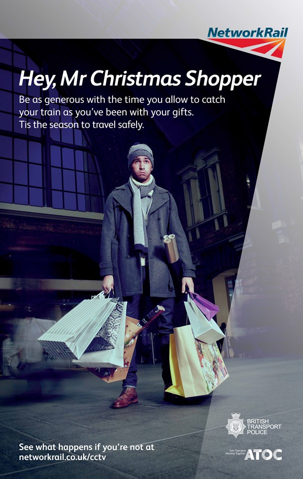 Passengers in the east of England urged to take care when travelling this Christmas: Mr Christmas shopper - Station safety poster