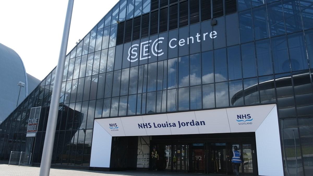 NHS Louisa Jordan Exterior: Exterior shot of the NHS Louisa Jordan hospital at the SEC Centre in Glasgow